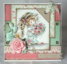 Dena's Stamping Corner: Guest Designer Card for Wee Stamps Shabby, Whimsy Stamps, Hobby House, Beautiful Handmade Cards, Marianne Design, Tampons, Card Sketches, Copics, Flower Cards