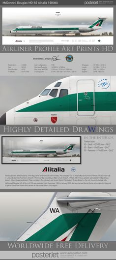McDonnell Douglas MD-82 Alitalia I-DAWA | www.aviaposter.com | #airliners #aviation #jetliner #airplane #pilot #aviationlovers #avgeek #jet #sideplane #airport #alitalia #md80