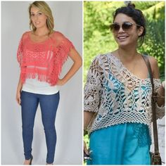 Get Vanessa Hudgens look with this Katsumi coral crochet boxy fringe crop top poncho with short sleeves. Great for music festivals or picnics at the moonlight cinimea this summer. #getherstyle #celebritystyle #vanessahudgens