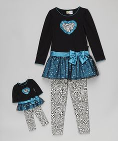Love this Black & Teal Leopard Tunic Set & Doll Outfit - Toddler & Girls by Dollie & Me on #zulily! #zulilyfinds