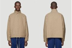 """Gucci Delivers New """"GG"""" Monogram-Covered Garments Gucci Brand, New Print, Hypebeast, Street Wear, Bomber Jacket, Monogram, Leather Jacket, Beige, Jackets"""