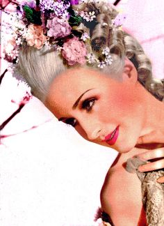 """Colorized photo of Norma Shearer in """"Marie Antoinette"""" (1938)."""