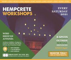 #HempCrete #WorkShops Every Saturday! #2021 #IndustrialHemp #Builders #Architects #Hemp #HempHomes #HempBuilding #SanDiego #California REGISTER TODAY! Save Energy, How To Introduce Yourself, Hemp, Warehouse, Architects, Workshop, California, Building, Atelier
