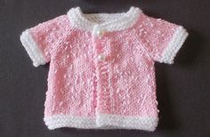 Free knitting pattern for Tiny Topaz Premature Baby Jacket and more baby cardigan knitting patterns