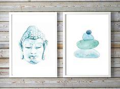 Boeddha Schilderij Zen steentjes lotus 2 prints door Zendrawing