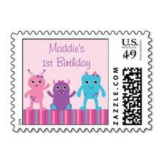 Girl Monster Postage Stamps