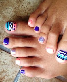 Tribal Toe Nail Designs For This winter. Related PostsLatest Summer Toe Nail Art Cool Pointy Nail Designs To TryNail Art Designs You Will Fall Cute Summer Nail Art DesignsGirl winter nail colors designs Inspired for Paintin Cute Toe Nails, Fancy Nails, Toe Nail Art, Love Nails, Pretty Nails, Pedicure Nails, Diy Nails, Bordados E Cia, Toe Nail Designs