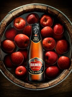 Bulmers Cider advertising campaign. Shot by Louisa Parry. Manipulation and general retouching including lots of work on apples and bottle.