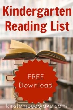 #Kindergarten #Reading List.  Free Download you can take to the bookstore or your local library.  Great suggestions for emergent readers.