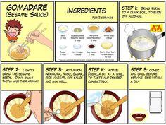 Manga giude to making Gomadare (Sesame Sauce) Taro Recipes, Sauce Recipes, Asian Recipes, Cooking Recipes, Recipies, Japanese Dishes, Japanese Food, Japanese Recipes, Japanese Ramen