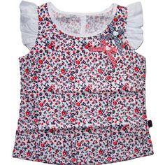 Urocza bluzeczka z koszulowego materiału w drobne kwiatuszki - romantyczna, bardzo dziewczęca.