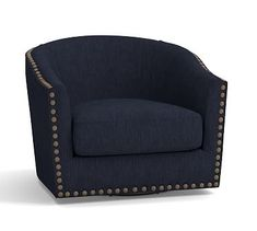 Harlow Upholstered Swivel Armchair with Bronze Nailheads, Polyester Wrapped Cushions, Performance Tweed Navy
