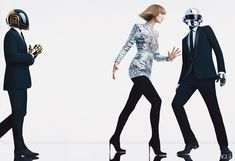 The sonic-sculpting Frenchmen behind the helmets would be dream dates for the opening of Soundings: A Contemporary Score, the first major sound-art show at the Museum of Modern Art. Balmain embroidered metallic leather minidress and black suede boots; Maxfield, L.A. Louis Vuitton cuff.