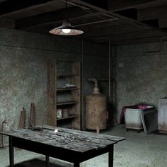 A dirty and dark basement for poser, filled with lots of detailed props. The light sets provided strenghten the feeling of old and the scary mood. Scary Dreams, Basement Inspiration, Basement Ideas, Dark Basement, Environment Concept Art, Escape Room, Stage Design, Common Area, My Dream Home