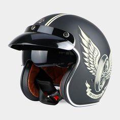 Vintage Cool Skull Biker Helmet with Inner Visor Open Face Motorcycle Helmets, Biker Helmets, Open Face Helmets, Motorcycle Bike, Riding Helmets, Motos Retro, Motos Vintage, Cycling Helmet, Bicycle Helmet