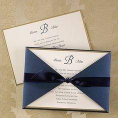 Joyful Brilliance Elegant Ivory wedding Invitation with navy and gold.http://bustlingbride.carlsoncraft.com/Wedding/Wedding-Invitations/3124-BSN7049-Joyful-Brilliance--Invitation.pro