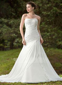 Wedding Dresses - $194.09 - Trumpet/Mermaid Sweetheart Chapel Train Chiffon Satin Wedding Dress With Ruffle Lace Beading (002011658) http://jjshouse.com/Trumpet-Mermaid-Sweetheart-Chapel-Train-Chiffon-Satin-Wedding-Dress-With-Ruffle-Lace-Beading-002011658-g11658