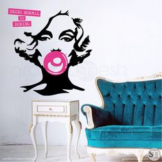 """MARILYN MONROE BUBBLE GUM """"NORMAL IS BORING"""" Wall decals in black with accent in hot pink"""