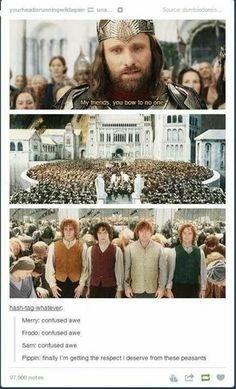 Aragorn: My friends, you bow to no one. Merry: *confused awe* Frodo: *confused awe* Sam: *confused awe* Pippin: *Finally I'm getting the respect I deserve from these peasants*
