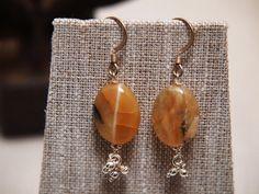 Warm African Honey Opal & Silver Dangle Earrings by TheJewelster, $21.95