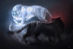 This is really cool art Mystical Animals, Mythical Creatures Art, Magical Creatures, Big Cats Art, Cat Art, Anime Animals, Cute Animals, Image Tigre, Animal Drawings