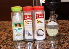 Make your OWN HOUSE SEASONING to put on everything... you only need one bottle instead of 3 or 4 ..... LOVE IT...  GREAT IDEA