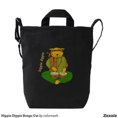 Hippie Dippie Bongo Cat Duck Bag - This bag is for drummers, aging hippies, and let us not forget cat lovers with a definite sense of humor. #tote #bongos #hippies #cats