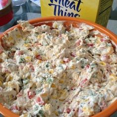 Ingredients 1 red pepper 2 jalapenos (unseeded) 1 can of corn 1/2 can diced olives 16 oz fat-free cream cheese ( 1 packet  Ranch dip  mix