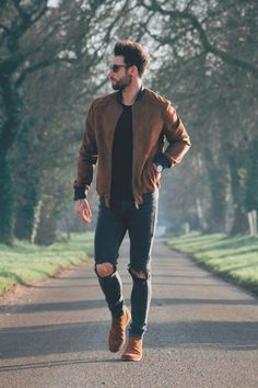 fall // menswear, mens style, mens fashion, bomber jacket, black denim, sunglasses, tshirt #MensFashionDenim