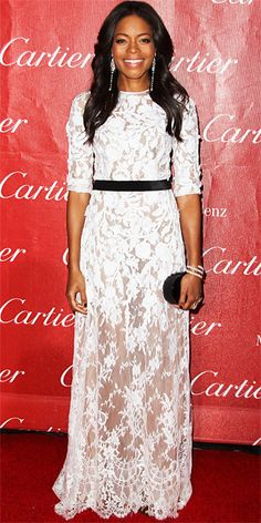 Look of the Day - January 6, 2014 - Naomie Harris in Naeem Khan #InStyle