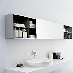 Armoire de toilette avec miroir by Benedini Associati - AGAPE Minimal Bathroom, Classic Bathroom, Modern Bathroom Design, Bathroom Interior Design, Interior Modern, Bathroom Toilets, Laundry In Bathroom, Bathroom Storage, Small Bathroom