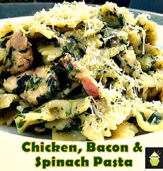 Tasty Chicken, Bacon & Spinach Pasta. Quick and Easy and oh so delicious!   #pasta #chicken #spinach #easyrecipe