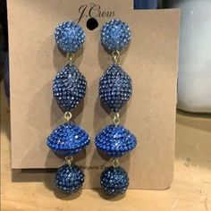 J. Crew Jewelry | J Crew Blue Pave Crystal Ball Statement Earrings | Poshmark Statement Earrings, Drop Earrings, One And Other, Crystal Ball, Polka Dots, Women Jewelry, Crystals, Outfit, Blue