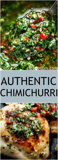 Authentic Chimichurri from Uruguay & Argentina is the best accompaniment to any barbecued or grilled meats! Also used to serve as a dressing on salads! | https://cafedelites.com