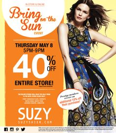 One Day Only Sale @ Suzy Shier - OFF Entire Store! See in store for full details. Only Sale, One Day Only, The Prestige, Suzy, Bring It On, Toronto Canada, Mall, Store, Pictures