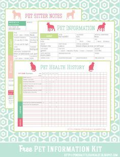 Free Pet Printables to keep track of vaccinations, allergies, medications, vet, & other important info.