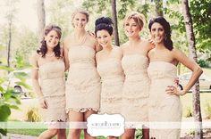 Cream lace bridesmaids dressed.