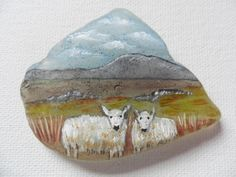 Sheep on the moors - Original acrylic miniature painting on frosted sea glass by ShePaintsSeaglass on Etsy