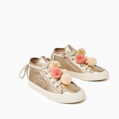 f4d5df48b3f Image 4 of METALLIC POMPOM HIGH-TOP SNEAKERS from Zara High Top Sneakers