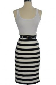 Cute outfits for little $$   Nautical Stripe Belted High Waist Skirt in Navy/Ivory