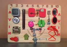 Items similar to Busy board, Motorikspielzeug, activity board, wooden toys on Etsy Activity Board, Activity Games, Activities, Sensory Boards, Busy Board, Developmental Toys, Baby Learning, Baby Development, Educational Games