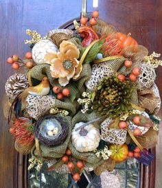 Burlap and Mesh Fall Wreath by HertasWreaths on Etsy, $155.00