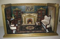 Ideas for the model. The fireplace, chairs, and the floor!  Dollhouse Roombox OOAK Miniature Victorian Living Room