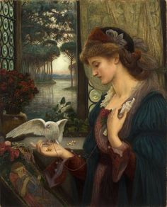 """Marie Spartali Stillman (1844–1927), Love's Messenger, 1885, watercolor, tempera, and gold paint on paper mounted on wood, 32 x 26 in, Delaware Art Museum, Samuel and Mary R. Bancroft Memorial, 1935/Courtesy Delaware Art Museum. The model for this painting was Spartali Stillman's daughter Euphrosyne """"Effie"""" Stillman who, by going on to study at the Slade under Alphonse Legros and exhibit as a sculptor at the Royal Academy, inherited her mother's talent as well as her predicament."""