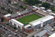An aerial view of Brisbane Road home of Leyton Orient Football Club on July 2011 in London, England. English Football Stadiums, English Football League, London Football, British Football, Baseball Park, Soccer Stadium, Leyton Orient Fc, Stadium Architecture, Bristol Rovers