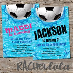 Soccer Pool Party, Birthday Invitation, printable template, swim invite, end of season soccer team party, digital download, girl, boy