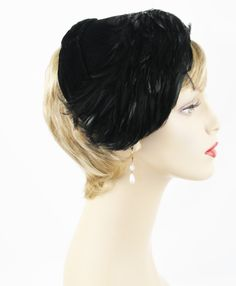 Vintage 1960s Hat Black Velvet and Feathered Half Clip Style