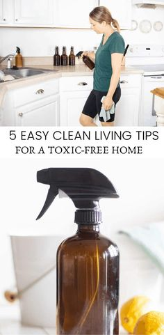 5 super easy tips for clean living to create a toxic-free home. Learn how to make easy swaps to save money and create a healthier home. #toxicfree Natural Cleaning Recipes, Natural Cleaning Products, Diy Products, Natural Products, Diy Cleaners, Cleaners Homemade, Diy Floor Cleaner, Cleaning With Peroxide, Essential Oils Cleaning