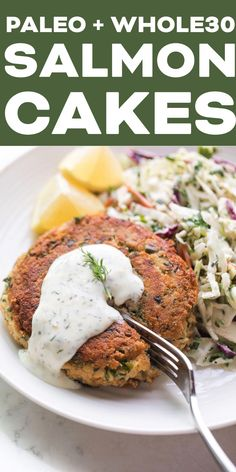 paleo meals #HomeMeals Whole 30 Salmon Cakes, Canned Salmon Cakes, Canned Salmon Recipes, Seafood Recipes, Paleo Recipes, Paleo Meals, Seafood Menu, Paleo Diet, Eating Paleo