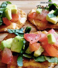 Avocado and tomato salad Pretzel Crisps bites #vegetarian